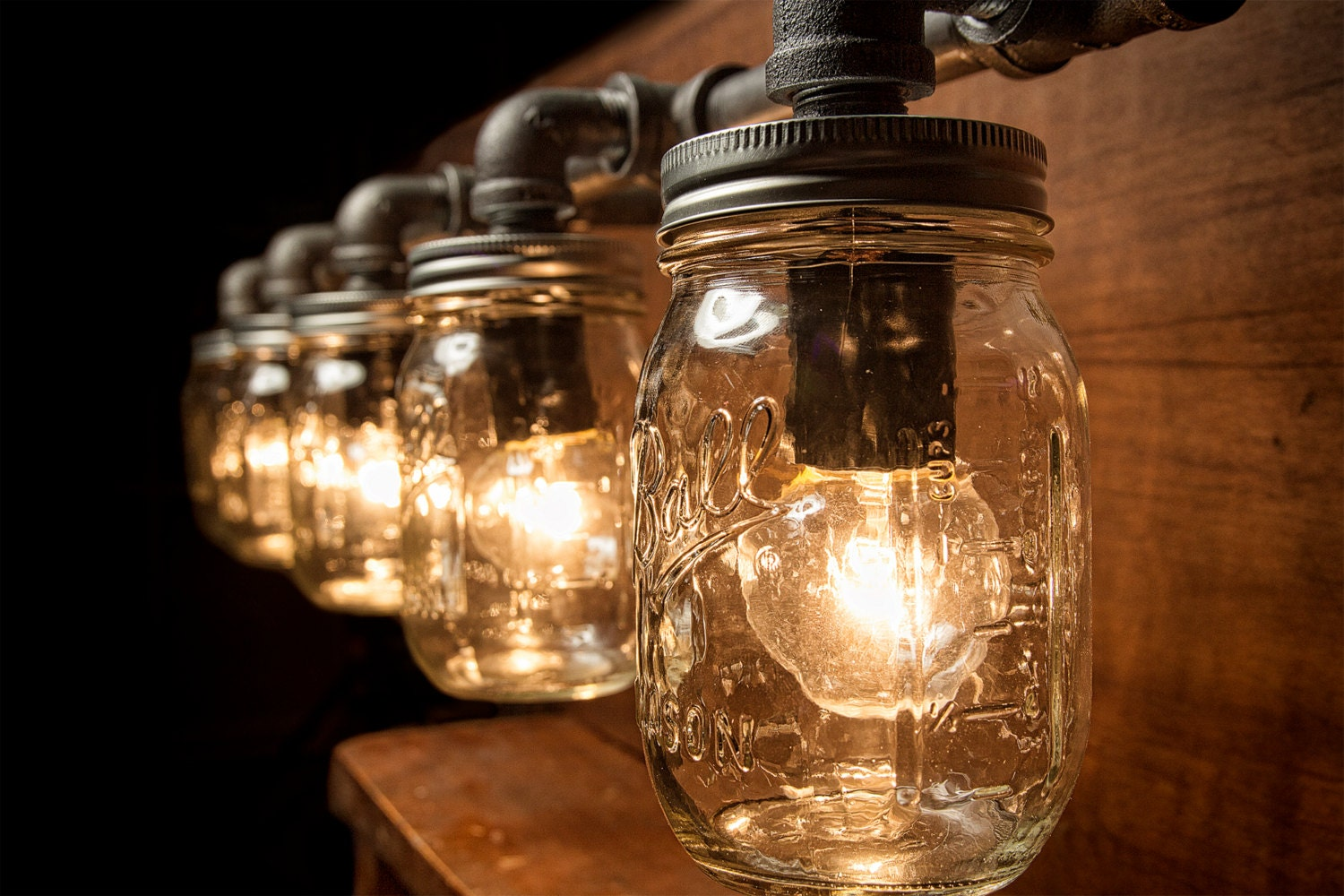 Vanity Lights Mason Jars : 5 Mason Jar Pipe Light Vanity Styled Wall by EyeKandyPipeWorks