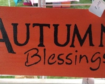 Autumn Blessings Wooden Sign