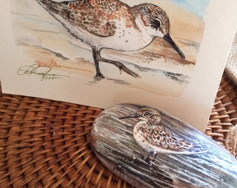 Sand Piper Stone Painting and Handpainted watercolor Gift Card