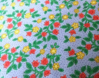 Doreen Speckmann Provence by Clothworks Cotton Fabric, Light Blue with Red and Yellow Overall Floral