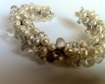 Vintage Cristal Pearl Bracelet-antique Bracelet with pearls and crystals