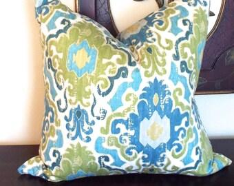 Blue Green Throw Pillows, Decorative Pillows, Green Pillow Cushion, Sofa Pillows, Housewares Decor, Pillow Decor, Pillow 22 x 22 - 0016