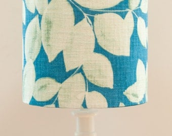Teal Leaf Drum Table Lampshade in 'Depth' leaf design by Harlequin Fabrics SALE
