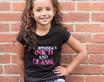 Girls Black Tee- My Mommas Ink'd & Classi