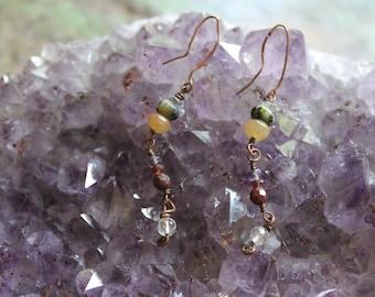 Rustic, Chrysoprase, Aventurine, Copper dangle earrings