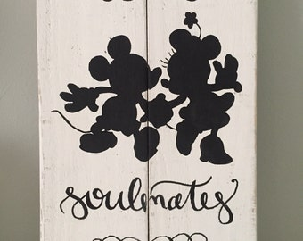 Rustic Home Decor, Mickey & Minnie Customizable Sign ~ Disney Wedding/ Anniversary, Rustic Pallet Sign, Hand Painted Sign, Disney Sign