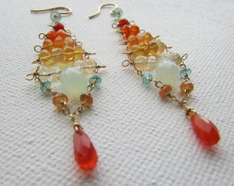 Carnival Trapeze Gemstone Chandelier Earrings