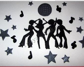 Edible dancing disco people cake topper,party,70s,80s,retro,sugarpaste decoration