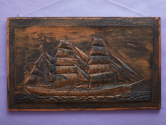 Arts and crafts mural sailing ship windjammer for Arts and crafts mural
