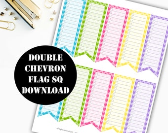 Double Chevron to do list Flag Printable Planner Stickers // Erin Condren Printable / Plum Paper / Planner Instant Digital Download 00015