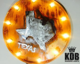"Lighted Texas Marquee Sign - 24"" Diameter"