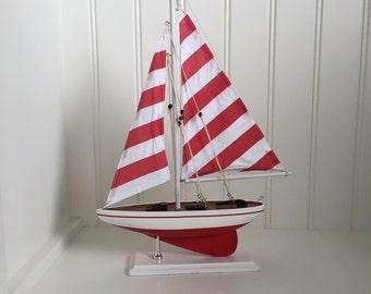 Red Wooden Model Sailboat - model ship - model boat - wedding centerpiece, Red Striped Pacific Sailer - sailboat decor - boat decor
