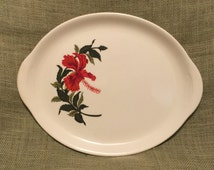 Large Vintage Crooksville Gray-Lure Hibiscus Serving Platter - White with Red Flower and Green Leaves