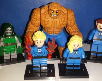 FF Fantastic Four Set Of 5 Custom Marvel Minifigures Thing Torch Dr. Doom Invisible Woman Mr. Fantastic (LEGO Compatible)