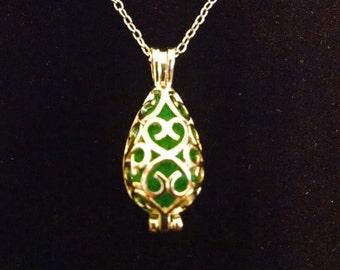 mermaid tear essential oil diffuser necklace, antique silver