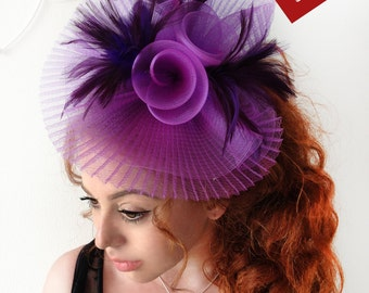 Purple Fascinator - Purple Wedding Fascinator Hat, Tea Party Hat - Kentucky Derby Hat - British Hat Fascinator Headband