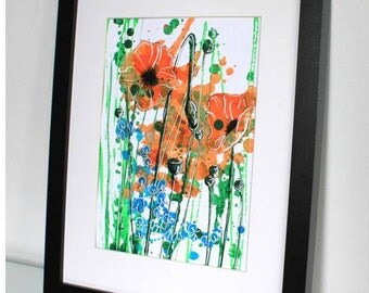 Floral Art Print, Floral Painting, Acrylic Painting, Abstract Flower Painting, Orange Flowers