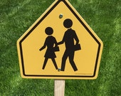 Handmade Wood School Crossing Road Sign - Indoor/Outdoor - Teacher Tool - Preschool - Day Care - Safety Town - School - Child Sized Play
