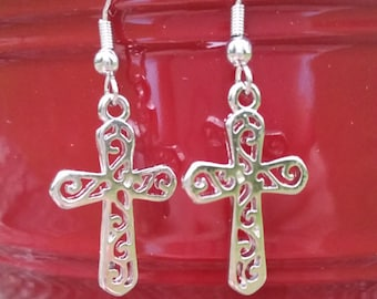 Silver Cross Earrings, Handmade Earrings, Lightweight Earrings, Dangle Earrings, Shinny Earrings, Gift Idea