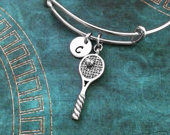Tennis Racket Bangle Bracelet Silver Tennis Charm Bracelet Tennis Bracelet Stackable Bangle Adjustable Bangle Personalized Bangle Expandable