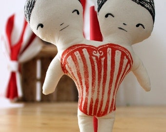 """Conjoined Twins Doll - """"Il Circo Bizzarro"""" series-rag doll-best-original gift for girls and boys-Handmade stuffed-cuddle doll"""