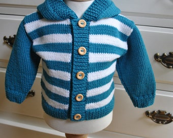 Hand knitted hooded baby jacket/coat/cardigan/sweater/hoodie with cashmere age 6-12mths