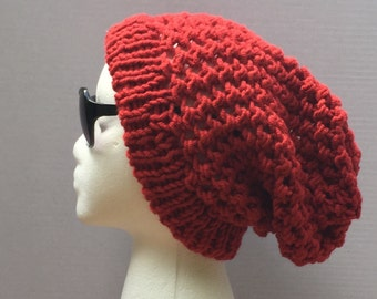 Red Adult Crochet Slouchy Beanie
