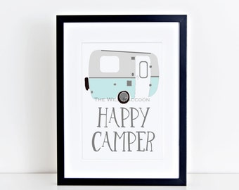 Blue Happy Camper Printable, Nursery Print Navy, Summer Fun Nursery Art, Vintage Camper, Blue and Gray, Typographical, Instant Art Print