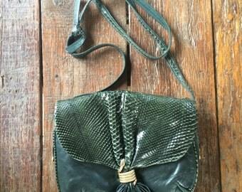 80s Green Leather Bag // Vintage Snake Charm Bag