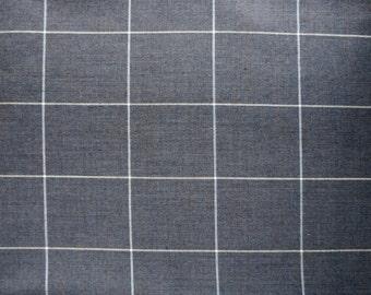 Dusty Gray Vintage Soviet Cotton  Fabric , Unused Cotton Fabric Made in 80'S, Retro Cotton Fabric From USSR , Check Fabric