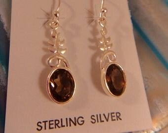 SMOKEY QUARTZ EARRINGS Sterling Silver