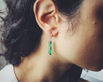 Cylindrical jade fish hook earrings decorated with 'Fu' (福), jade jewelry, Chinese jade-silver jewelry, jade-silver fish hook earring