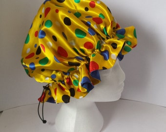 Satin Hair Bonnets With Adjustable Drawstring