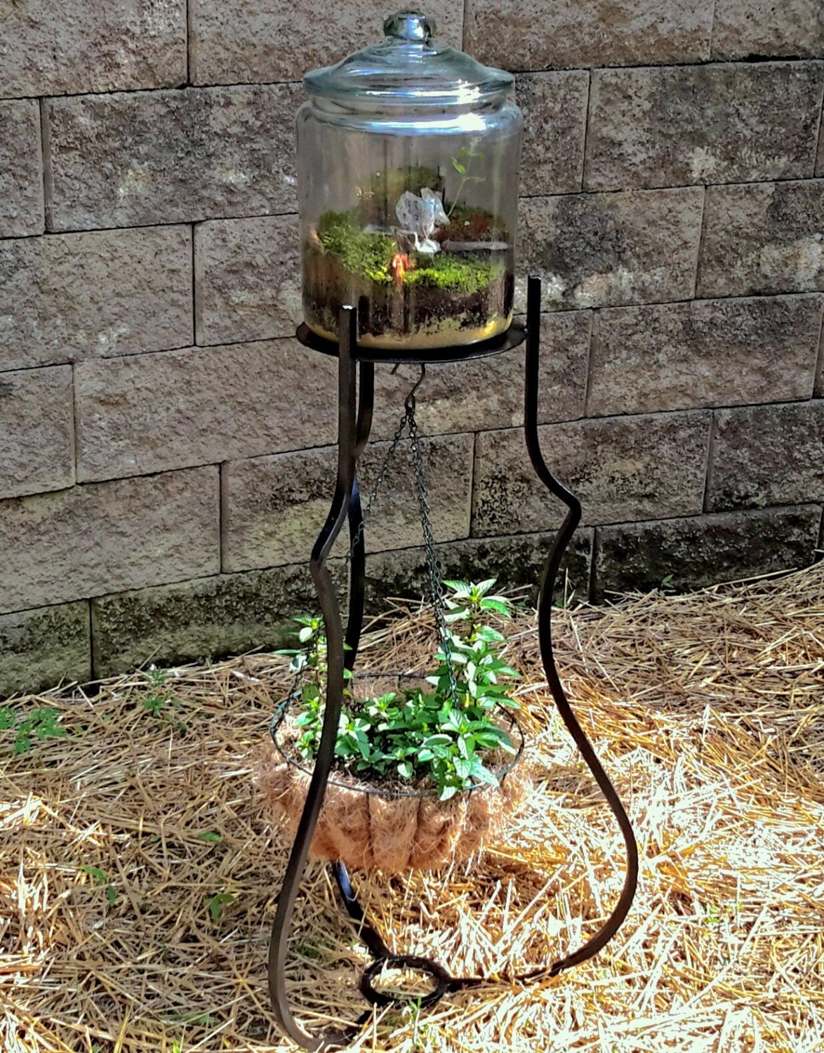Hand Fabricated Iron Plant Stand and Hanging Basket on Hanging Plants Stand  id=43904