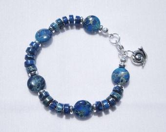 Blue-dyed imperial jasper bracelet
