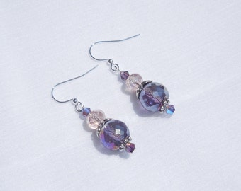 Purple and pink glass earrings