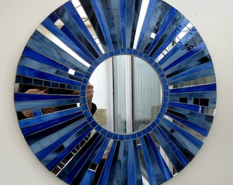 Stained glass Mosaic round Mirror - SOLD, Made to order