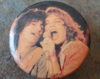 vintage Mick Jagger and Keith Richards of The Rolling Stones pin