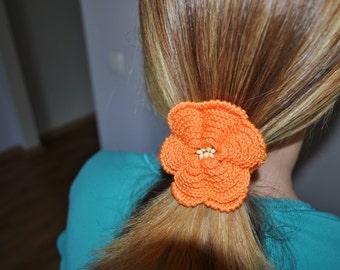 Crochet elastic hair flower