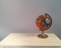 "8"" Hand Painted Globe - Zentangle Design"