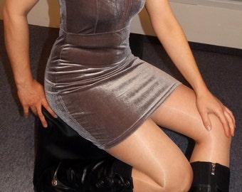 sibernes short velvet dress silver shiny velvet short mini dress