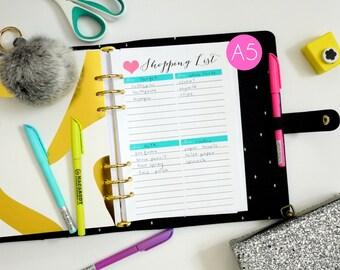 Printable Shopping List PDF - A5 Filofax / Kikki K Large Planner