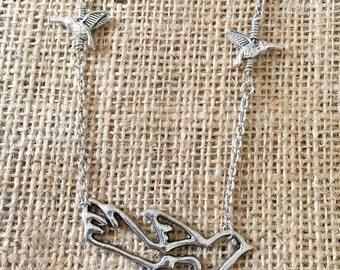 Bird necklace, silver necklace, silver bird necklace, garland necklace, statement necklace