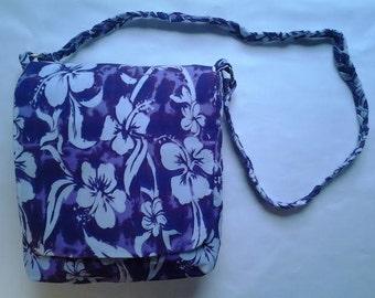 Purple with White Flowers Shoulder Bag - Purple Liner