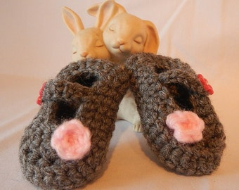 Gray and Pink Mary Janes. Crochet Baby Booties.