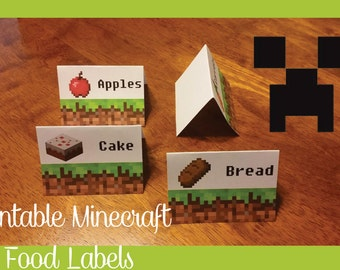 Mine craft Inspired Printable Food Labels - Digital File - 20 Tent Fold Labels