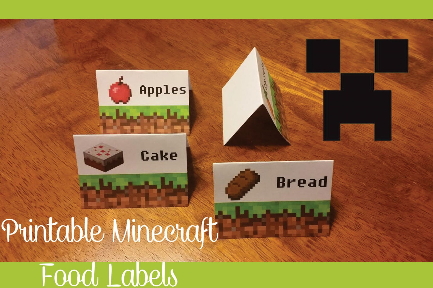 This is a graphic of Free Printable Minecraft Food Labels with clipart
