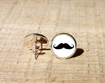 Mustache Stud earrings, mustache Earrings, Hypoallergenic, 14mm, nekel free
