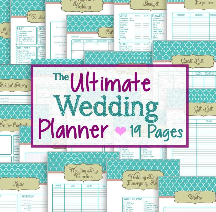 Wedding Planner 19 Printable Pages Instant Downloadable