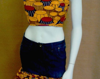 REDUCED FOR CLEARANCE - Orange and Navy African Wax Print and Denim Mini and Halter Top Dress